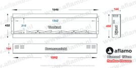 Aflamo Diamond 156cm - Frameless Inbouwhaard