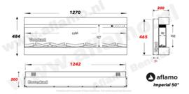 Aflamo Imperial 50 | 127cm- Elektrische haard driezijdig