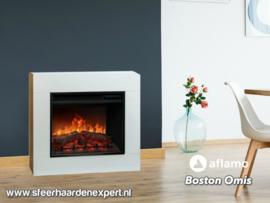 Aflamo Omis - Schouw ombouw Wit met elektrische sfeerhaard LED60
