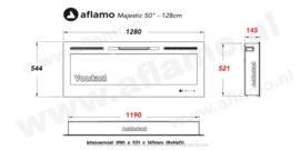 Aflamo Majestic 128cm breed - Elektrische inbouw sfeerhaard