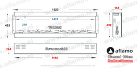 Aflamo Diamond 144cm - Frameless Inbouwhaard