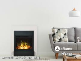 Aflamo Wenen - Witte moderne schouw met elektrische LED haard
