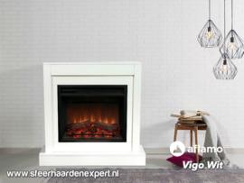 Aflamo schouw ombouw Vigo Wit met elektrische inbouwhaard LED
