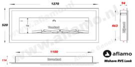Aflamo Mohave R.V.S.-look - Elektrische wand hanghaard