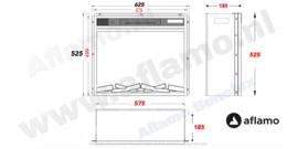 Aflamo LED 60 - Elektrische inbouwhaard 57,5 x 50,5cm
