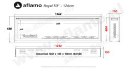 Aflamo RoyalParis 128cm breed Elektrische inbouw haard