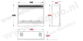 Aflamo LED 80 - Elektrische inbouwhaard 74 x 59cm