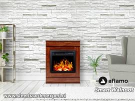 Aflamo Smart Walnoot - Schouw ombouw met elektrische sfeerhaard LED40