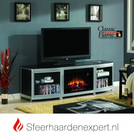 TV meubel Classicflame Gotham met sfeerhaard en aluminium accenten