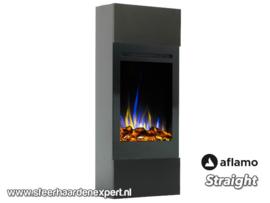 Aflamo Straight zwart - Smalle hoge ombouw met elektrische LED haard