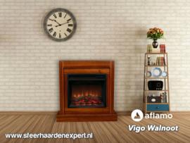 Aflamo schouw ombouw Vigo Walnoot met elektrische inbouwhaard LED