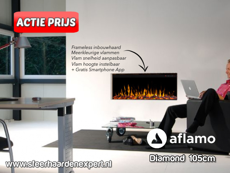 Aflamo Diamond 105cm - Frameless Inbouwhaard