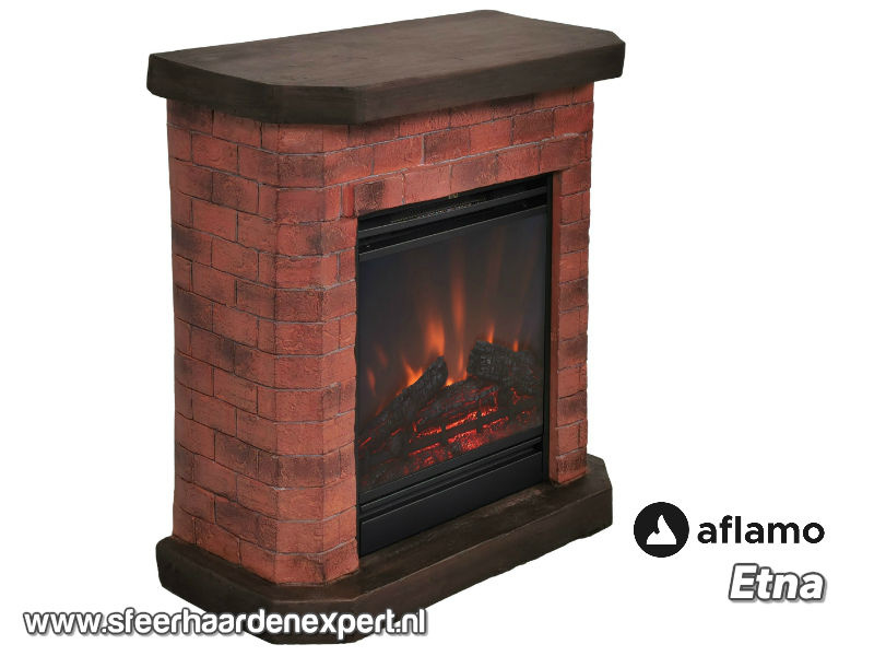 Aflamo Etna steen - Schouw ombouw met elektrische sfeerhaard LED50
