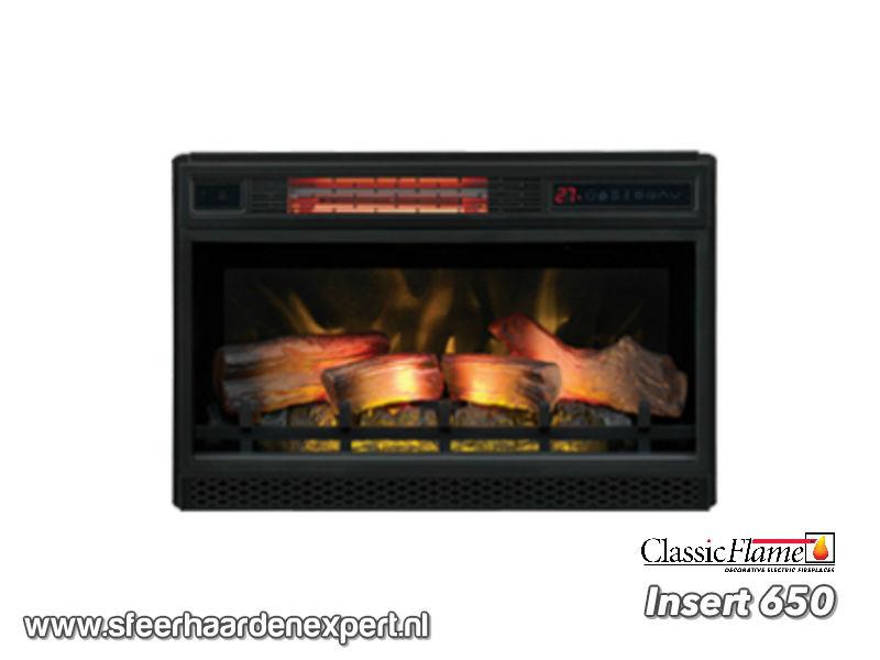 Classicflame Insert 650 met 3D vlam effect, houtset en verwarming