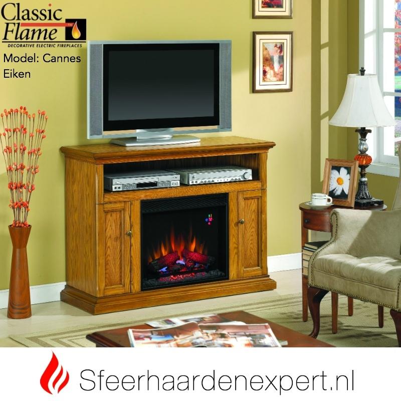 Tv Kast Klassiek Eiken.Tv Meubel Classic Flame Elektrische Sfeerhaard Met Schouw Cannes
