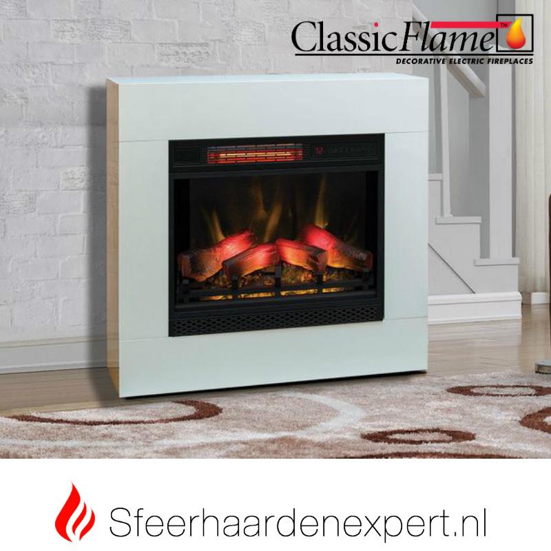 Classic Flame elektrische sfeerhaard CF23-3D met schouw ombouw Simo wit
