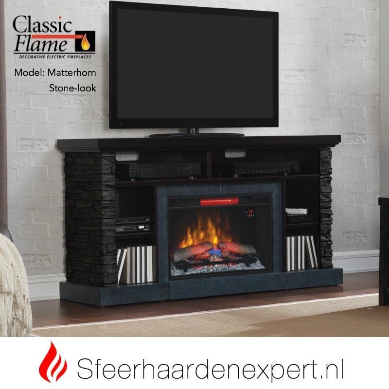 TV meubel Classicflame Matterhorn met sfeerhaard, kleur Stonelook met Mahonie