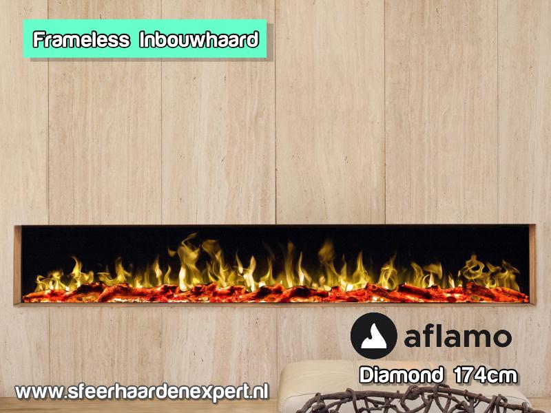Aflamo Diamond 174cm - Randloze Inbouwhaard