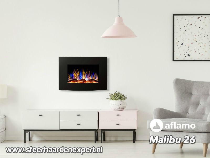 Aflamo Malibu 65cm zwart - Elektrische muur wandhaard