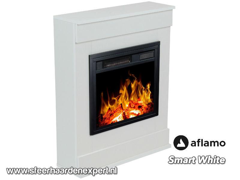 Aflamo Smart Wit - Schouw ombouw met elektrische sfeerhaard LED40