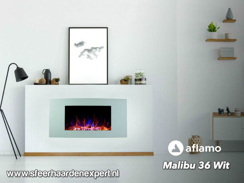 Aflamo Malibu 90cm wit - Elektrische muur wandhaard