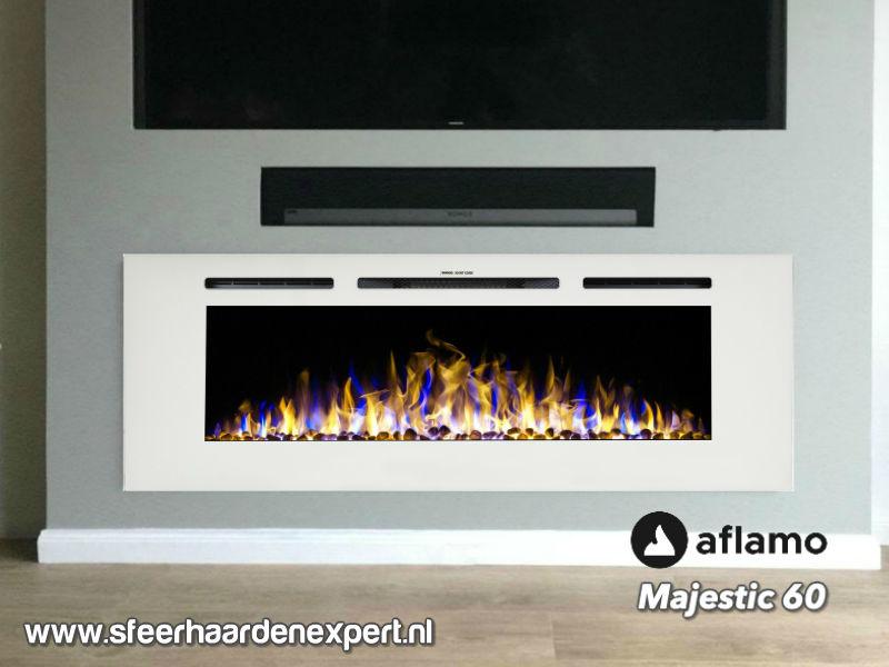 Aflamo Majestic 152cm - Witte elektrische inbouw haard