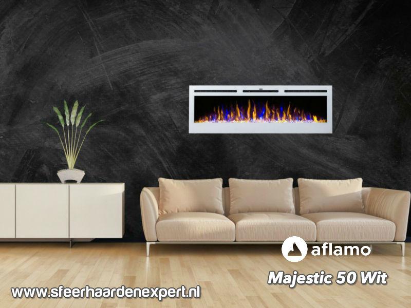 Aflamo Majestic 128cm - Witte elektrische inbouw sfeerhaard