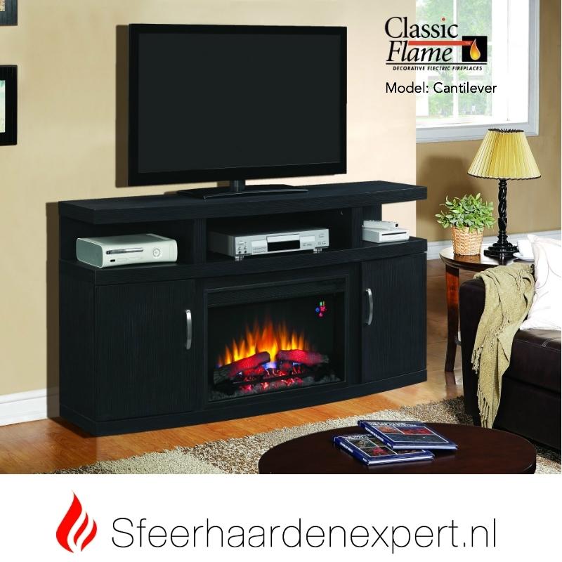 TV meubel Classicflame Cantilever met sfeerhaard, kleur donker eiken