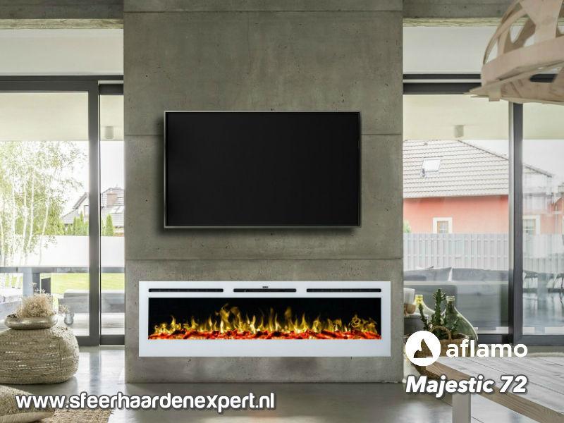 Aflamo Majestic 182cm wit - Elektrische wandhaard