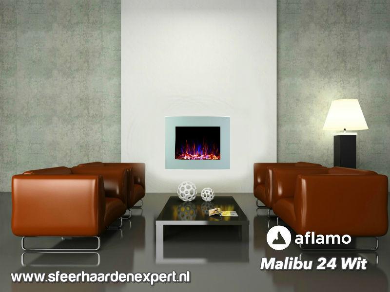 Aflamo Malibu 60cm wit - Elektrische muur wandhaard