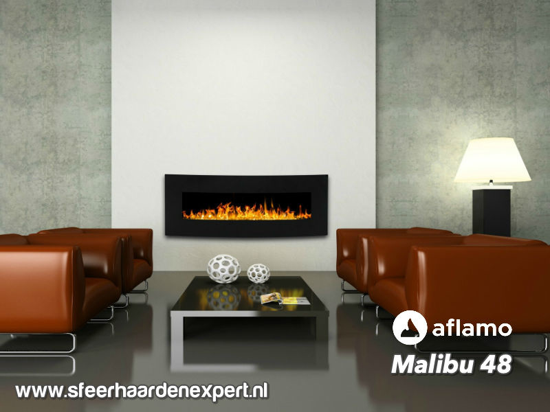 Aflamo Malibu 122cm zwart - Elektrische muur wandhaard