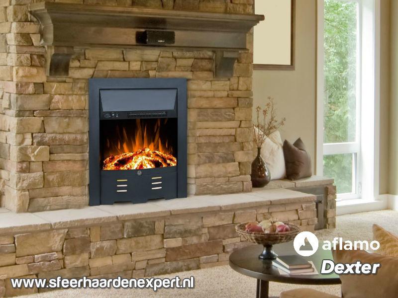 Aflamo Dexter Zwart - Voorzethaard elektrische sfeerhaard met verwarming