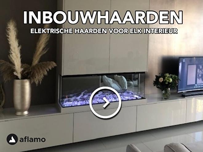 tv wand meubel met elektrische haard driezijdig