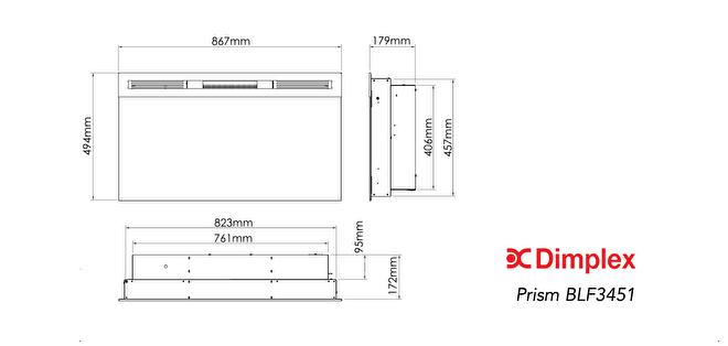 lijntekening Dimplex Prism 34 elektrische sfeerhaard