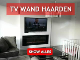 tv wand met elektrische haard onder boven televisie
