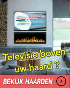televisie boven haard, sfeerhaard onder tv