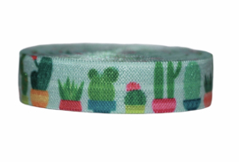 Elastisch band cactus in pot blauw 16 mm per 0,5 meter