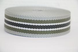 Tassenband grijs/legergroen/wit/zwart STEVIG 30mm, per 0,5 meter
