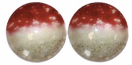 12 mm glascabochon sparkling gold/red , per 2 stuks