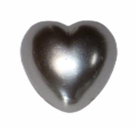 Flatback hartje zilvergrijs 10mm, per stuk