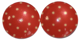Glas flatback cabochon 12mm rood met creme stipje per 2 stuks