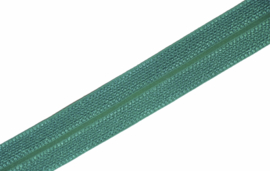 Elastisch biaisband/vouwtres JAQUARD kleur emerald 20 mm per 0,5 meter