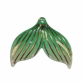 Zeemeerminstaart groen met gaatje  25x30 mm, per stuk