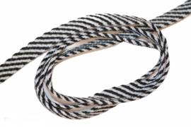 Veterband dubbeldik zwart wit streepje, per meter