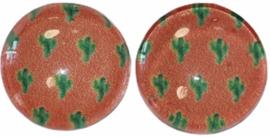 Glas flatback cabochon 12mm cactus, per 2 stuks