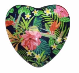 Hart glascabochon blad & bloem 25 mm