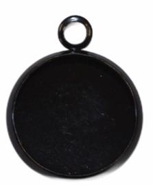 Bedeltje met setting 12 mm zwart, per stuk