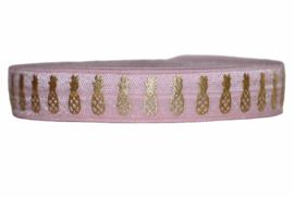 Elastisch band lichtroze met gouden ananassen 16 mm per 0,5 meter
