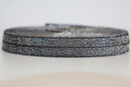 Elastisch band glitter zwart-zilver per 0,5 meter