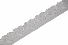 Elastisch kant hartjes ivoor 18mm, per 0,5 meter